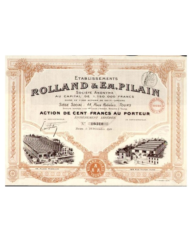 Ets Rolland & Em. Pilain, Automobile Siège social 44 Place Rabelais à Tours.