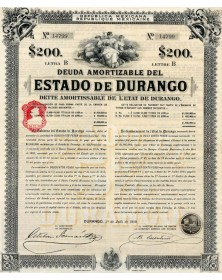 Republica Mexicana - Deuda Amortizable del Estado de Durango. 1910