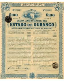 Republica Mexicana - Deuda Amortizable del Estado de Durango. 1910