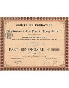 L'Etablissement d'un Port à l'Etang Berre