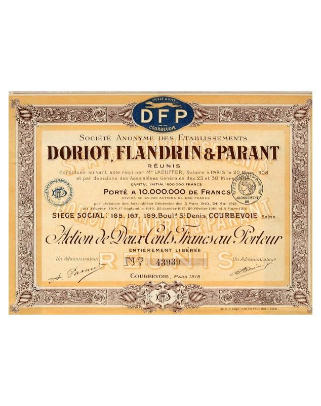 Sté des Ets Doriot, Flandrin & Parant Réunis