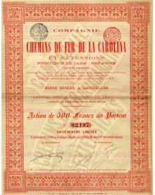 Cie de Chemins de Fer de la Carolina et Extensions (Province de Jean-Espagne)