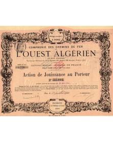 Cie des Chemins de Fer L'Ouest Algérien. Emission de 8 Millions de Francs 1881