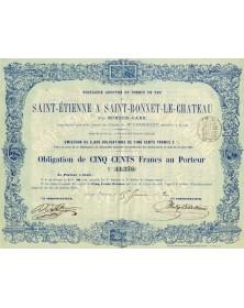 Railroads/Lines Cie Anonyme du Chemin de Fer de Saint-Etienne à Saint-Bonnet-le-Chateau