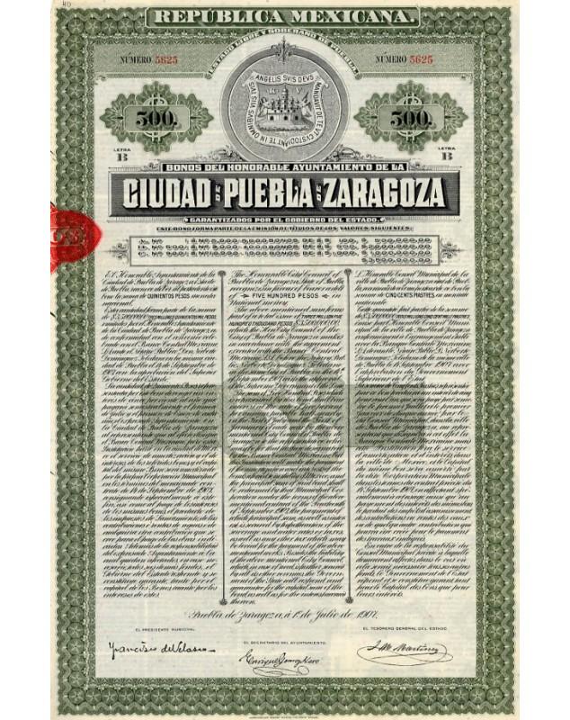 Ciudad de Puebla de Zaragoza, Republica Mexicana. 1907