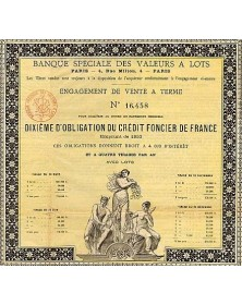 Banque Spéciale des Valeurs à Lots. Engagement de Vente à Terme Emprunt 1853 Crédit Foncier de France