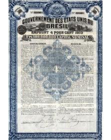 Gouvernement des Etats Unis du Brésil - Emprunt 4% 1910