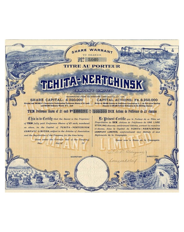 Tchita-Nertchinsk Co. Ltd. Agriculture, Mines, Railway, Wood and Plants