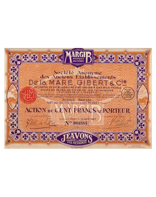 """Fabricant de gaine Jeavons, avec le slogan : """"Jeavons gainent et huilent vos ressorts""""  S.A. des Anciens Ets De La Mare, Gibert"""