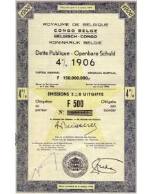Royaume de Belgique Congo Belge - Dette Publique 4% 1906