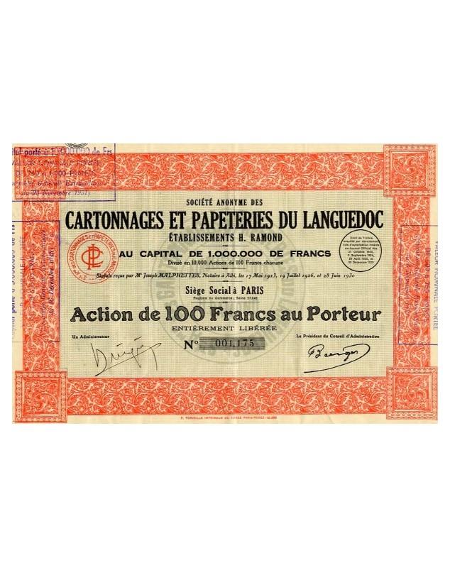 S.A. des Cartonnages et Papeteries du Languedoc. Ets H Ramond