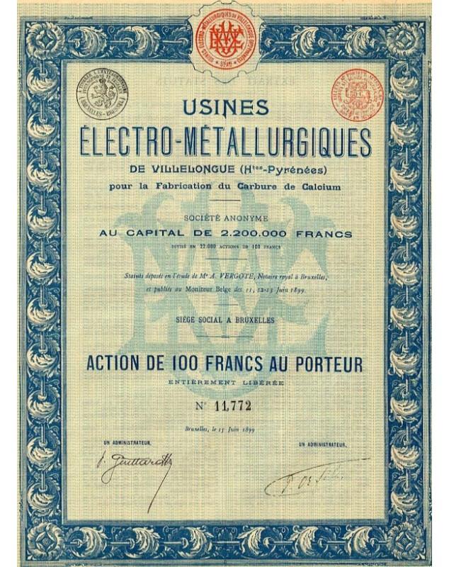 Usines Electro-Métallurgiques de Villelongue pour la Fabrication du Carbure de Calcium