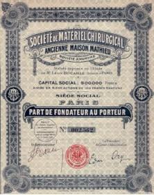 Sté de Matériel Chirurgical. Ancienne Maison Mathieu