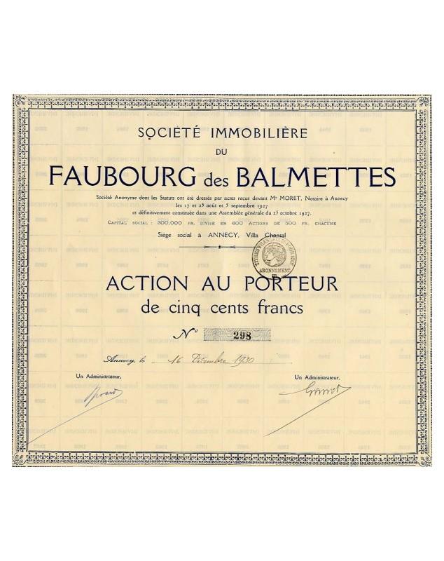 Sté Immobilière du Faubourg des Balmettes