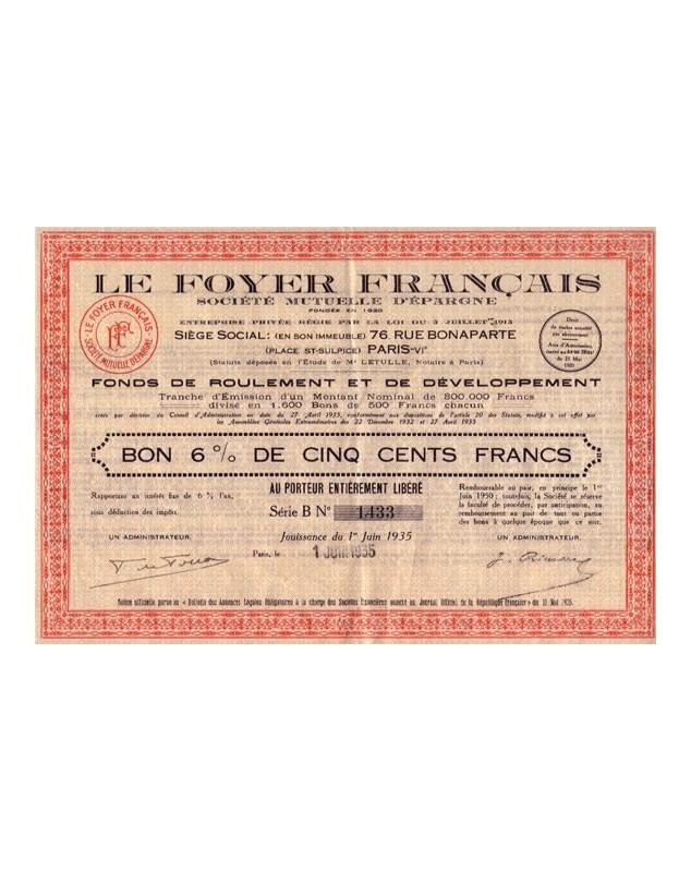 Le Foyer Français Sté Mutuelle d'Epargne