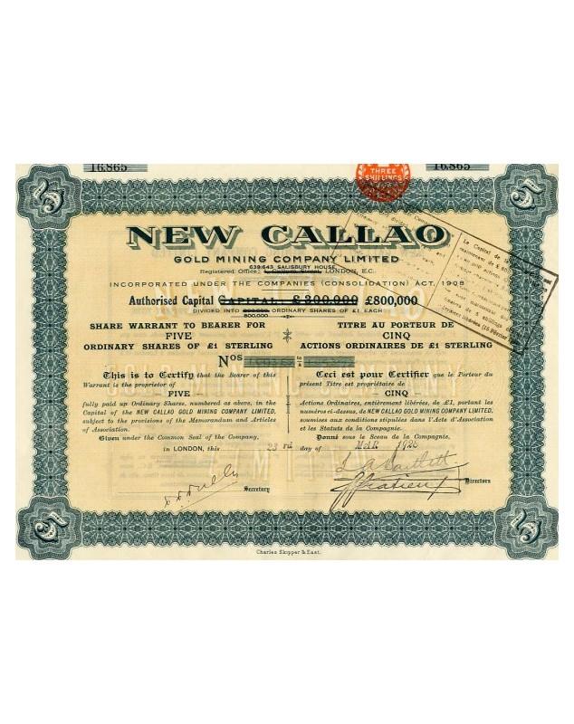 New Callao Gold Mining Company Ltd. 1928