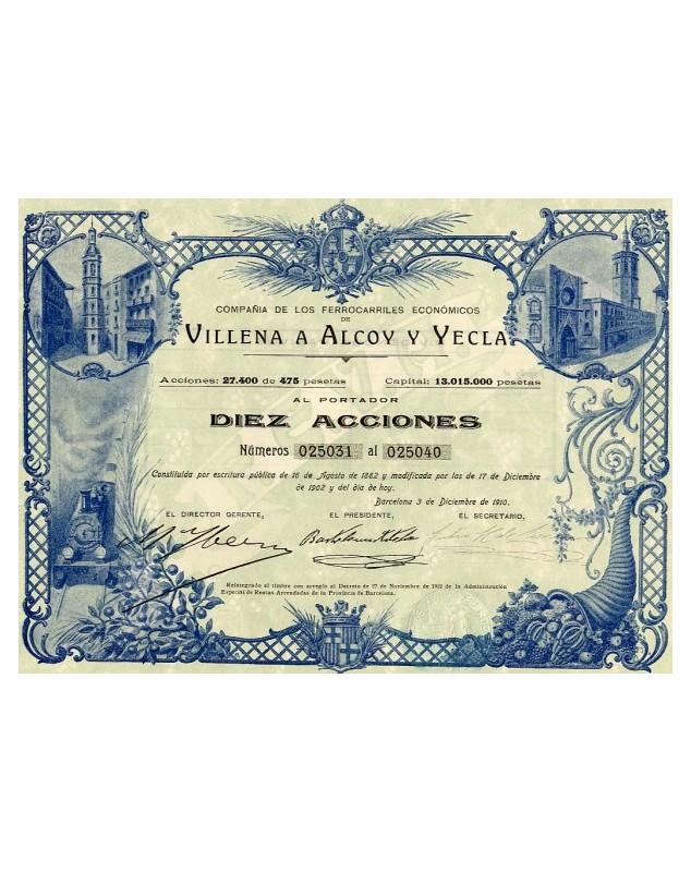 Compañia de Los Ferrocarriles Economicos de Villena Alcoy Y Yecla