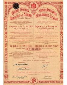 Crédit Foncier du Royaume de Serbie Emprunt 4,5% or 1911