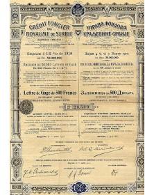 Crédit Foncier du Royaume de Serbie Emprunt 4,5% or 1910