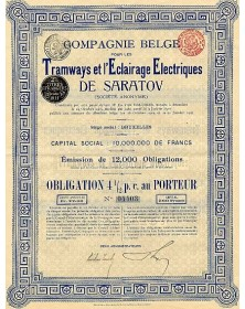 Cie Belge pour les Tramways et l'Eclairage Electriques de Saratov
