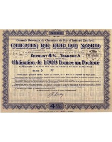 Grands Réseaux de Chemin de Fer d'Intérêt Général. Chemin de Fer du Nord - 4% Loan 1933