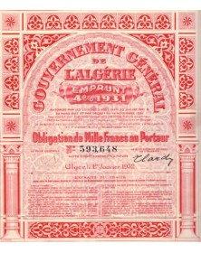 Gouvernement Général de l'Algérie - Emprunt 4% 1931