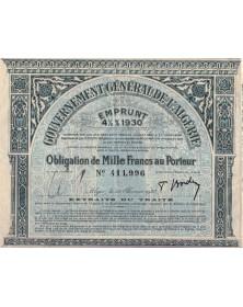 Gouvernement Général de l'Algérie - Emprunt 4% 1930