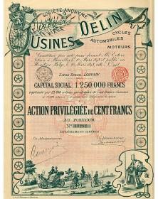 S.A. des Usines Delin, Cycles, Automobiles, Moteurs