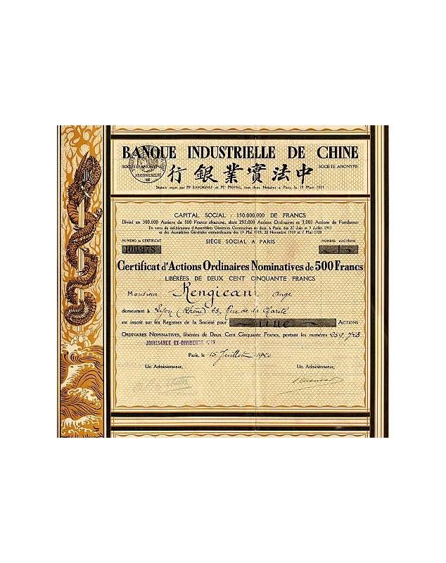 Banque Industrielle de Chine. 1920/1922