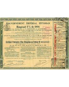 Gouvernement Impérial Ottoman Emprunt 5% de 1914