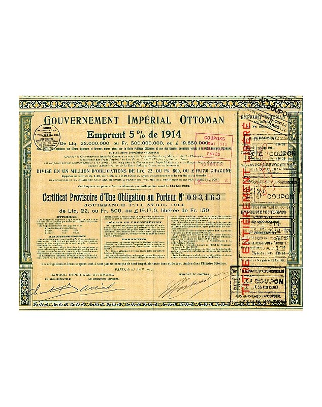 Imperial Ottoman Government - Loan 5% of 1914