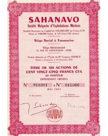Sahanavo. Sté Malgache d'Exploitations Minières