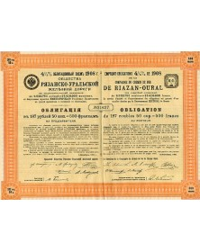 Riazan-Oural Railway Co. - 4.5% 1908 Loan