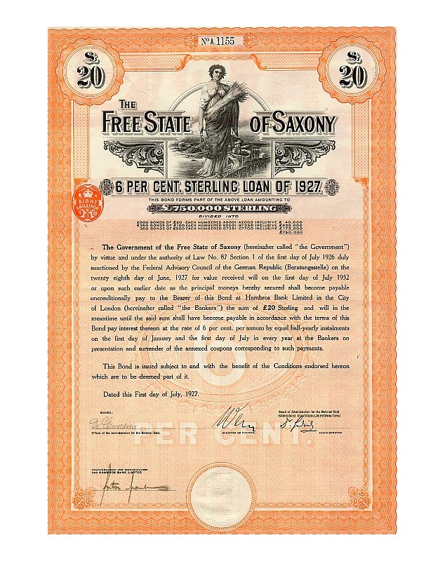 The Free State of Saxony - 6% State Loan 1927