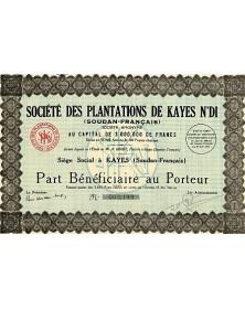 Sté des Plantations de Kayes N'Di (Soudan Français)