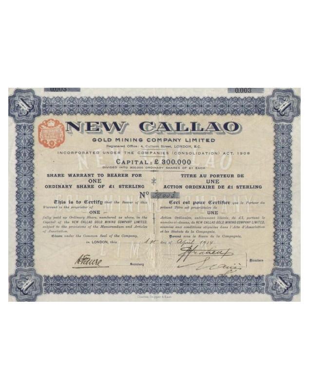 New Callao Gold Mining Company, Ltd. (1£)