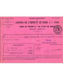Coupons de L'Emprunt de Bahia 5% 1910