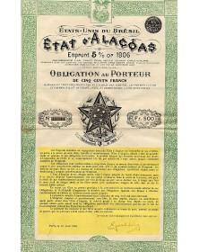 Etat d'Alagoas Emprunt 5% Or 1906