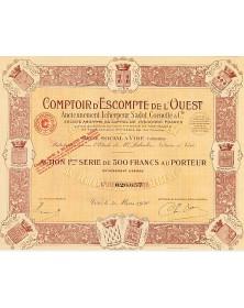 Comptoir d'Escompte de l'Ouest (Anciennement Leherpeur, Sadot, Cornette & Cie)