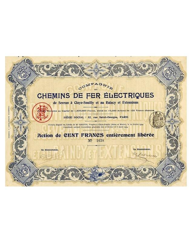 Cie des Chemins de Fer Electriques de Sevran à Claye-Souilly et au Raincy
