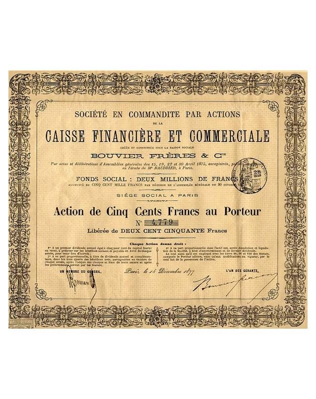 Sté en Commandite par Actions de la Caisse Financière et Commerciale, Bouvier Frères & Cie