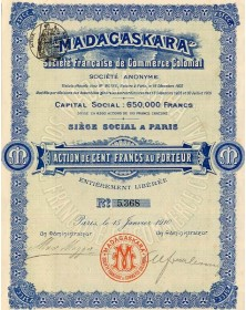 Madagaskara - Sté Fse de Commerce Colonial.