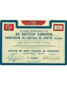 Ets du Docteur Sabourin. Sanatorium du Château de Durtol