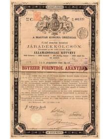 Kingdom of Hungary - 4% Gold Bond 1881, 1000 Fl