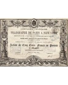 Cie Française de Télégraphe de Paris à New-York Action de 500F
