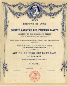 S.A. des Parfums d'Arys, Parfums de Luxe