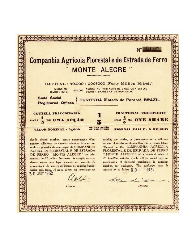 Co. Agricola Florestal e de Estrada de Ferro Monte Alegre
