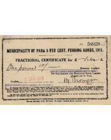 Municipality of Para 5% Funding Bonds 1915