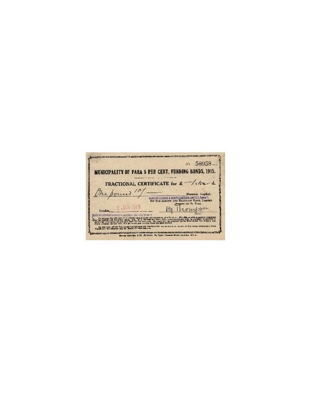 Municipality of Para 5% Funding Bonds 1915