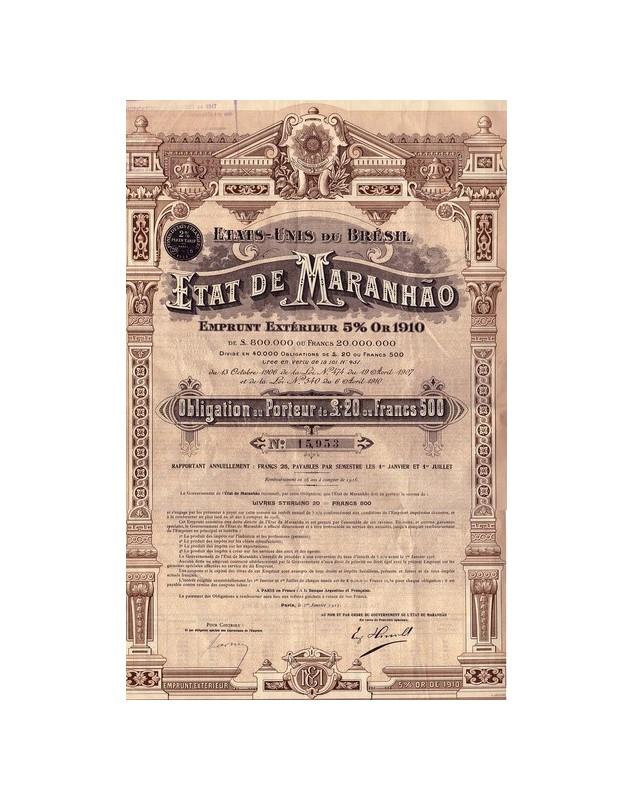 Etat de Maranhao - Emprunt Extérieur 5% Or 1910